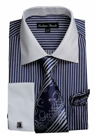 Mens Dress Shirt Tie Combo Set Navy Stripe Fortino FL631 - click to enlarge