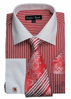 Mens Dress Shirt Tie Combo Set Red Stripe Fortino FL631