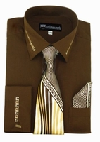 Mens Dress Shirt Tie Puff Set Brown Embroider Cuff Collar SG35