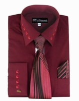 Mens Dress Shirt Tie Puff Set Burgundy Embroider Cuff Collar SG35