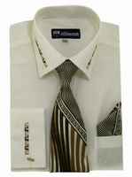 Mens Dress Shirt Tie Puff Set Ivory Embroider Cuff Collar SG35