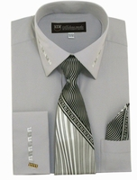 Mens Dress Shirt Tie Puff Set Silver Embroider Cuff Collar SG35