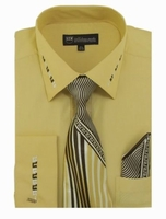 Mens Dress Shirt Tie Puff Set Yellow Embroider Cuff Collar SG35