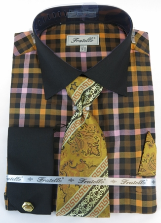 Mens Dress Shirt with Matching Tie and Hanky - Black Plaid Fratello FRV4139P2 - click to enlarge