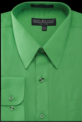 Daniel Ellissa Mens Classic Green Dress Shirt Regular Fit DS3001