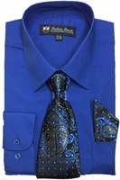 Mens Dress Shirts Tie Set Royal Blue Color Long Sleeve Fortini SG21A