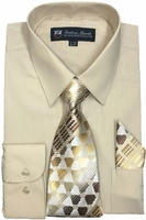 Mens Dress Shirts Tie Set Sand Beige Long Sleeve Fortini SG21B