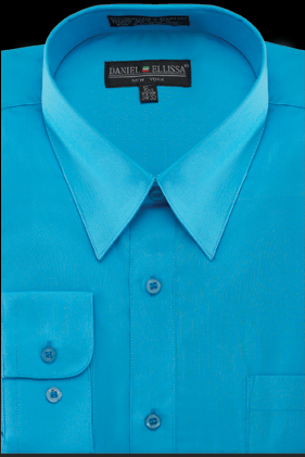 Mens Bright Color Dress Shirts Turquoise Pointed Collar Ds3001