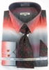Mens Dress Shirts with Ties Unique Red Color Blend DE DS3795