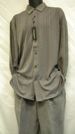 Mens Micro Suede Walking Suits Grey Knit Set SP1302 - click to enlarge