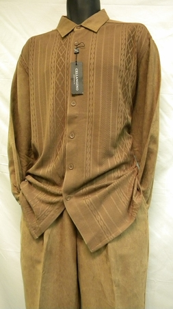 Cellangino Mens Knit Front Walking Suits Taupe Set SP1302 - click to enlarge