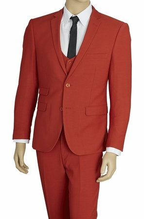 Mens Extra Slim Fit Suit Brick Red 3 Pc. Stretch Fabric US631V - click to enlarge