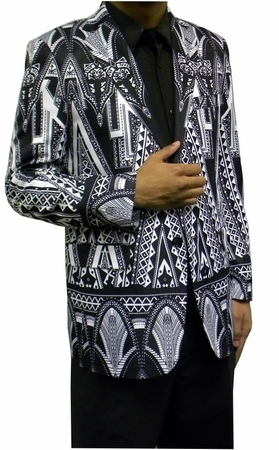 Mens Fashion Blazer Black Geometric Pattern Jacket Martini - click to enlarge