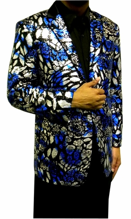 Mens Fashion Blazer Blue Black Sequin Jacket AM Hyde 5882 IS - click to enlarge