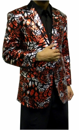 Mens Fashion Blazer Red Black Sequin Jacket AM Hyde 5816 - click to enlarge