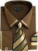 Milano Brown Edge Trim French Cuff Shirt Tie Set SG23