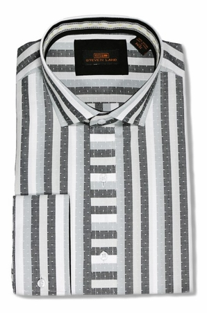 Steven Land Black Stripe Cotton French Cuff Dress Shirts DA1640 - click to enlarge