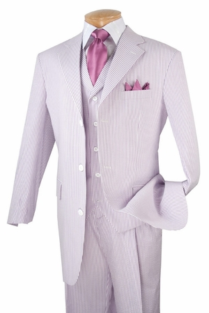Vinci Mens Fashion Lavender Seersucker 3 Piece Suit 33SS-8 - click to enlarge