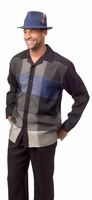 Montique Mens Blue Block Pattern Leisure Walking Suit 1640
