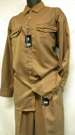 Mens Fashion Outfit by Stacy Adams Taupe Stripe Set 654 - click to enlarge