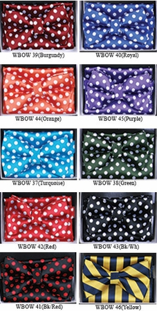 Mens Dot Pattern Bow Tie Hanky Sets WBOW-3 - click to enlarge