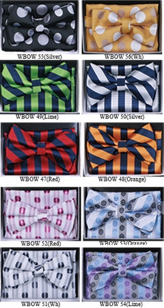 Mens Fashion Pattern Bow Tie Hanky Sets WBOW-4 - click to enlarge