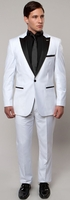 Mens Fashion Peak Lapel Slim Fit White and Black Tuxedo Tazio M182S-05