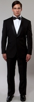 Mens Fashion Slim Fit Black Shawl Collar Tuxedo Tazio MT146S-01