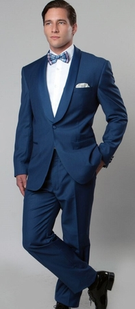 Mens Fashion Slim Fitted Blue Shawl Collar Tuxedo Tazio MT146S-05 - click to enlarge