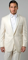 Mens Fashion Slim Fit Off White Peak Lapel Tuxedo MI87S-07