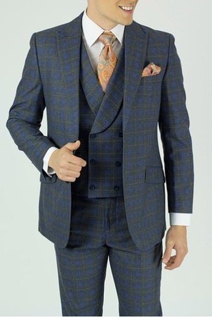 Mens Fashion Suit 1920s Style Gray Plaid Round Collar Vest KNY NS2PV-8769 - click to enlarge