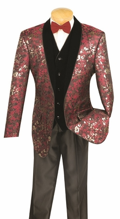 Vinci Mens Wine Velvet Vested 3 Piece Entertainer Suit S-3FL - click to enlarge