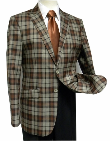 Ferara Mens Brown Plaid Elbow Patch Sport Jacket  - click to enlarge