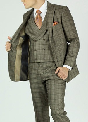 Mens Fashion Suit Urban Style Beige Plaid Rounded Collar Vest KNY NS2PV-13053