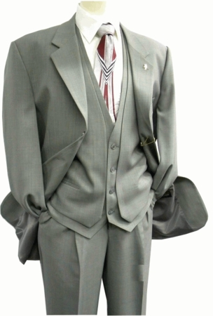 Mens Fashion Suits by Falcone Gray Burt Vested 2 Button Suit 3420-001 OS - click to enlarge