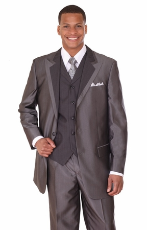 Mens Fashion Suits by Milano Moda Black Vested Sharkskin Suit 5907V - click to enlarge