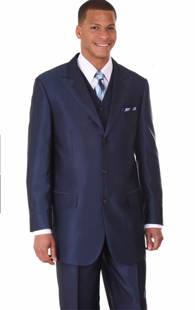 Mens Fashion Suits by Milano Moda Navy Vested Sharkskin Suit 5907V - click to enlarge
