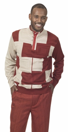 Mens Fashion Sweater and Pants Set Rust Montique 1713 - click to enlarge