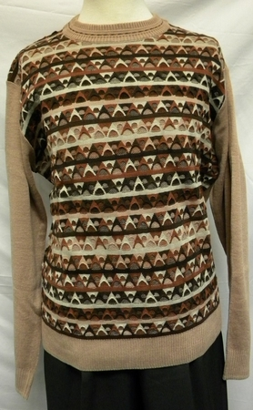 Giogio Mens Tan Multi Color Crew Neck Sweater 1570 - click to enlarge