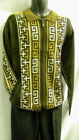 Mens Fashion Sweater by Prestige Brown Full Zipper KTN-251  - click to enlarge