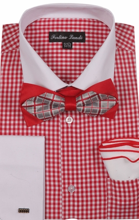 Milano Mens Red Check French Cuff Bow Tie Shirt Set FL628 - click to enlarge