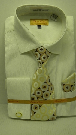Mens French Cuff Shirt Tie Set by Bruno Ivory Paisley BC1005 - click to enlarge
