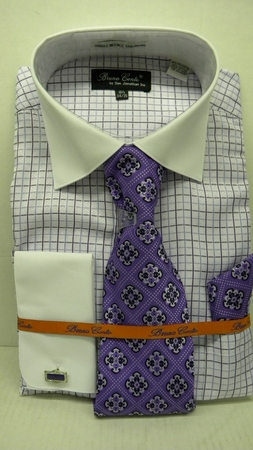 Mens French Cuff Shirt Tie Set by Bruno Purple Windowpane BC997 - click to enlarge