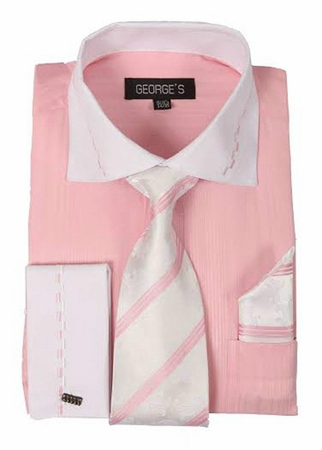 George Pink White Collar Cuff Dress Shirt Tie Set AH621 - click to enlarge