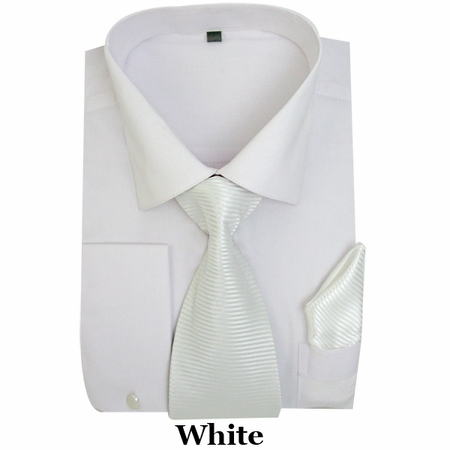 Milano White French Cuff Shirt Stripe Tie Combo SG27 - click to enlarge