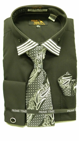 Mens French Cuff Shirt Tie Set by Prime Time Black Stripe Collar FC99 - click to enlarge