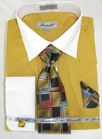 Mens French Cuff Shirt Tie Set Mustard Shadow Stripe Fratello FRV4140P2 - click to enlarge