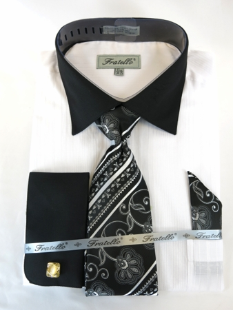 Mens French Cuff Shirt Tie Set White Black Shadow Stripe Fratello FRV4140P2 - click to enlarge