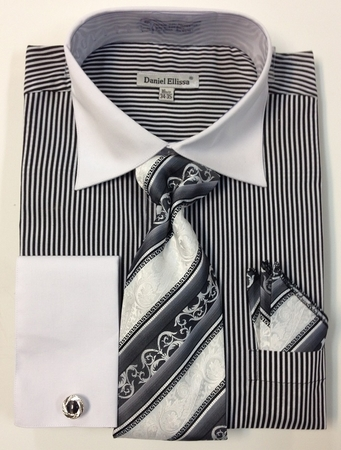 Daniel Ellissa Black Oxford Italian Stripe French Cuff Style Shirt Set DS3775P2 - click to enlarge