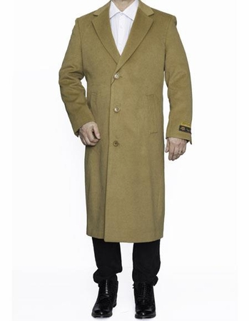 Mens Full Length Camel Wool Overcoat Center Vent Alberto Nardoni - click to enlarge